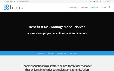 Screenshot of About Page brmsonline.com - About Benefit & Risk Management Services | BRMS - captured Oct. 5, 2018