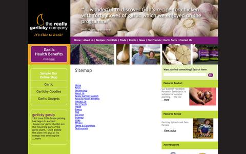 Screenshot of Site Map Page reallygarlicky.co.uk - Sitemap for The Really Garlicky Company, Nairn, Highlands Tel 01667 452193 - captured Oct. 7, 2014