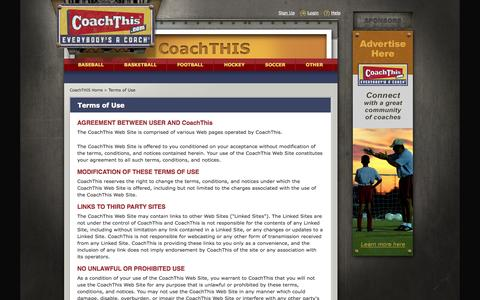 Screenshot of Terms Page coachthis.com - Terms of Use :: CoachTHIS, Where Everyone Is A Coach - captured Sept. 30, 2014
