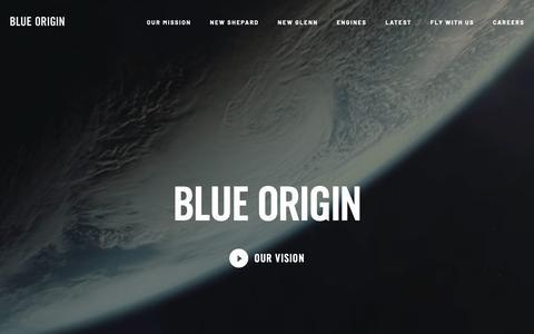 Screenshot of Home Page blueorigin.com - Blue Origin - captured Jan. 20, 2019