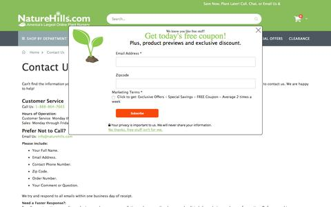 Screenshot of Contact Page naturehills.com - Contact Us - captured Feb. 9, 2020