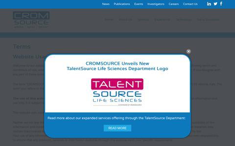 Screenshot of Terms Page cromsource.com - Terms - Cromsource - captured July 15, 2018