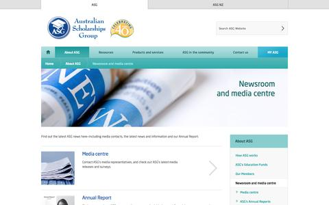 Screenshot of Press Page asg.com.au - Australian Scholarships Group | Newsroom<br /> and media centre - captured Sept. 19, 2014