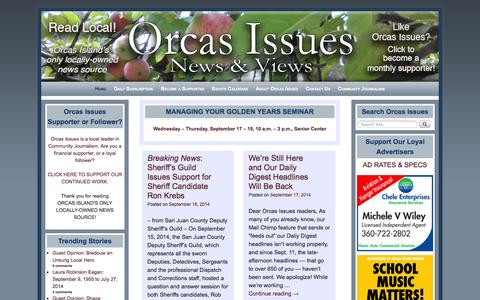 Screenshot of Home Page orcasissues.com - Orcas Issues: News & Views - - captured Sept. 19, 2014