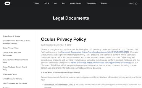 Screenshot of Privacy Page oculus.com - Oculus - captured May 5, 2019