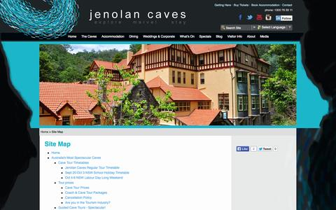 Screenshot of Site Map Page jenolancaves.org.au - Site Map - Jenolan Caves - captured Sept. 19, 2014