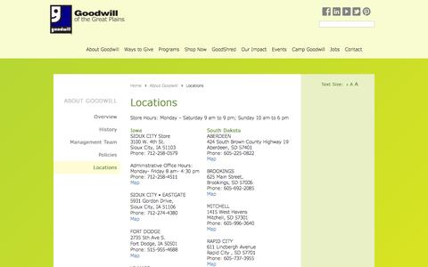 Screenshot of Contact Page Locations Page goodwillgreatplains.org - Goodwill of the Great Plains |   Locations - captured Jan. 31, 2016