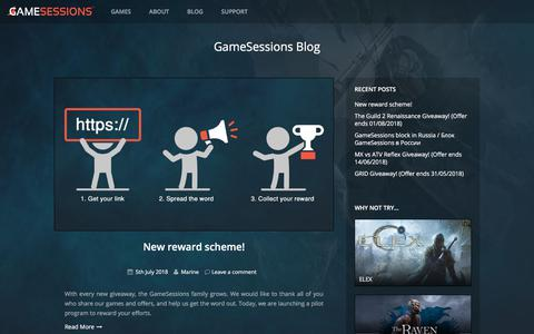 Screenshot of Blog gamesessions.com - GameSessions Blog - Bringing you free trials of PC games - captured July 16, 2018