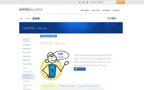 HCM FAQ | Ask Lisa | HCM Resources | Infinisource