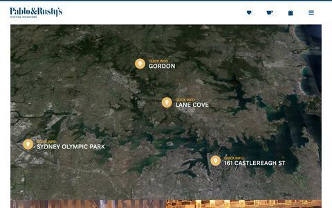 Screenshot of Locations Page pabloandrustys.com.au - Pablo & Rusty's - Locations - captured Sept. 19, 2014