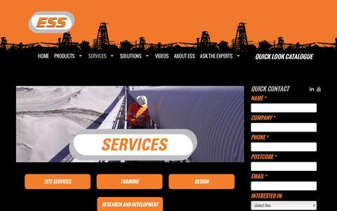 Screenshot of Services Page esseng.com.au - Engineering Services | Australia | ESS Engineering Services & Supplies | ESS Engineering - captured Jan. 24, 2016