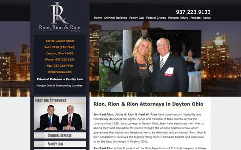 Screenshot of Home Page rionlaw.com - Find Lawyers in Dayton Ohio | Dayton Ohio Lawyers Rion Law - captured Oct. 7, 2014