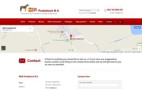 Screenshot of Contact Page podoblock.com - Contact - MXR Podoblock : MXR Podoblock - captured Oct. 4, 2017