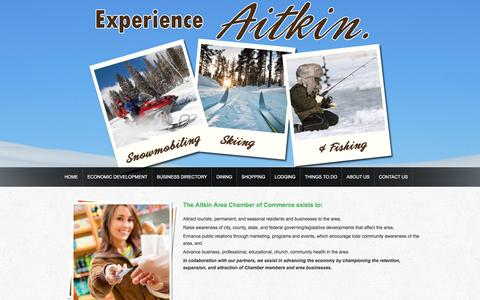 Screenshot of About Page aitkin.com - » Chamber of Commerce - captured March 2, 2016