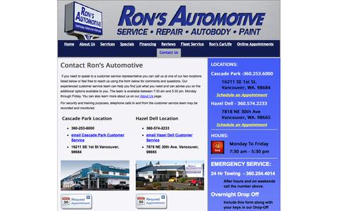 Screenshot of Contact Page ronsautomotive.com - Contact Ron's Auto|Vancouver, Wa. - Ron's AutoBody & Collision - captured Oct. 6, 2014
