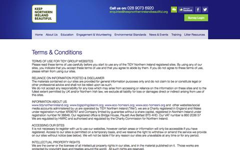 Screenshot of Terms Page keepnorthernirelandbeautiful.org - Keep Northern Ireland Beautiful - captured Sept. 30, 2014