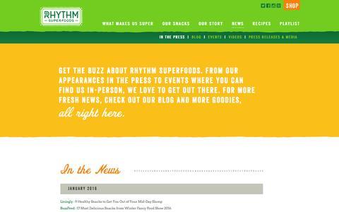 Screenshot of Press Page rhythmsuperfoods.com - » News - captured Jan. 28, 2016