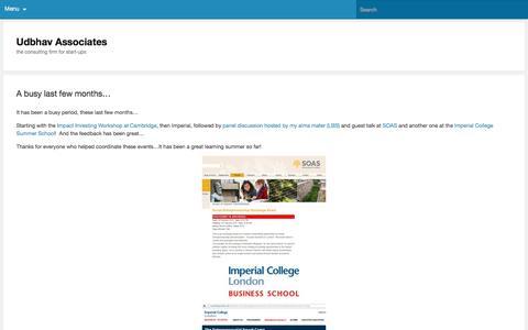 Screenshot of Home Page udbhavassociates.com - Udbhav Associates | the consulting firm for start-ups - captured Aug. 15, 2016