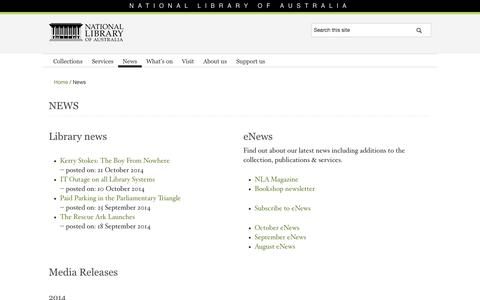 Screenshot of Press Page nla.gov.au - News | National Library of Australia - captured Oct. 27, 2014