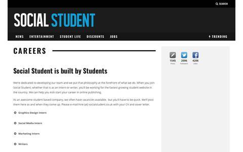 Screenshot of Jobs Page socialstudent.co.uk - Kick start your career with Social Student - captured Nov. 17, 2018
