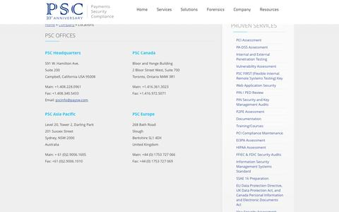 Screenshot of Locations Page paysw.com - Payment and Security Experts - PSC   Locations - captured Oct. 2, 2014