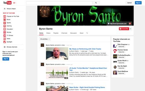 Screenshot of YouTube Page youtube.com - Byron Santo  - YouTube - captured Oct. 23, 2014