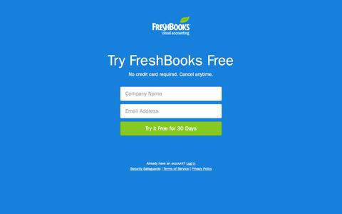 Screenshot of Signup Page freshbooks.com - FreshBooks - Online Invoicing, Accounting & Billing Software - captured Oct. 29, 2014