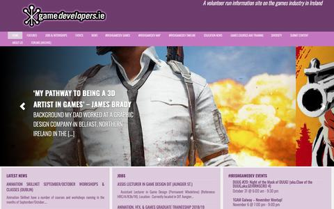 Screenshot of Home Page gamedevelopers.ie - GameDevelopers.ie - Irish Games Industry  & Games Made in Ireland - captured Oct. 21, 2018