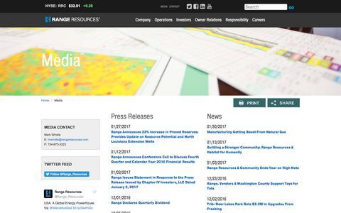Screenshot of Press Page rangeresources.com - Range Resources - Media - captured Feb. 15, 2017