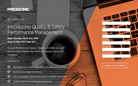 Screenshot of Landing Page procore.com - Introducing Quality & Safety Performance Management! - captured April 1, 2016