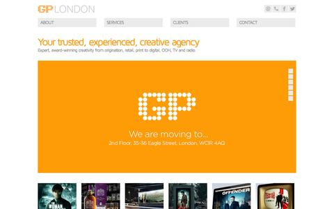 Screenshot of Home Page gplondon.com - GP London - captured Sept. 27, 2014