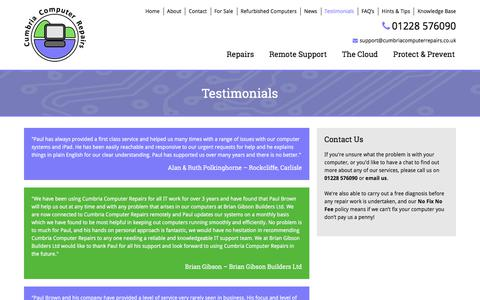 Screenshot of Testimonials Page cumbriacomputerrepairs.co.uk - Testimonials of Cumbria Computer Repairs, Carlisle, Wigton Surrounding Area - captured July 16, 2017