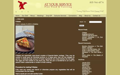 Screenshot of Blog ayschef.com - At Your Service Chef Blog | Living Well Starts With Dining Well - captured Oct. 4, 2014