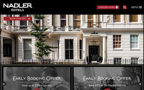 Screenshot of Home Page thenadler.com - Nadler Hotels - Official Website - London - Liverpool - captured Nov. 18, 2015