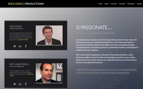 Screenshot of Team Page nickdavisproductions.com - The Team  � - captured Jan. 12, 2016