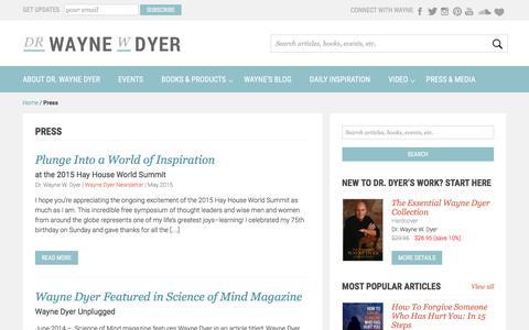 Screenshot of Press Page drwaynedyer.com - Press & News - Dr. Wayne Dyer - captured Oct. 5, 2016