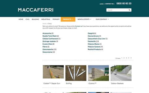 Screenshot of Products Page maccaferri.co.nz - Category Listing - captured Nov. 2, 2014