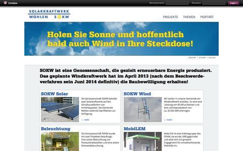 Screenshot of Login Page sokw.ch - Solarkraftwerk Wohlen - captured Oct. 26, 2014