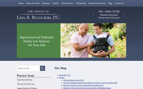 Screenshot of Site Map Page lisaruggieri.com - Site Map | Law Offices of Lisa A. Ruggieri | - captured Jan. 26, 2016
