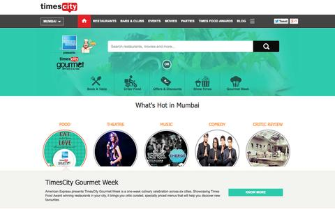 Screenshot of Home Page timescity.com - Restaurants and Bars in Mumbai,Events,Movies and Theatres in Mumbai | TimesCity - captured Sept. 18, 2014