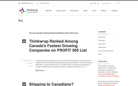 Screenshot of Press Page thinkwrap.com - In the news | Thinkwrap Commerce - captured Sept. 22, 2014