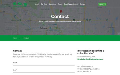 Screenshot of Contact Page ecssafety.com - Contact - ECS Safety Service - captured Sept. 25, 2018