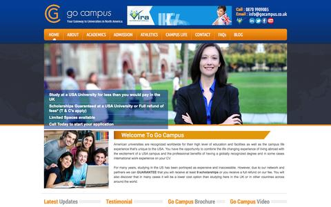Screenshot of Home Page gocampus.co.uk - Campus Study - University Campus - USA Campus - Study in The USA - captured Sept. 30, 2014