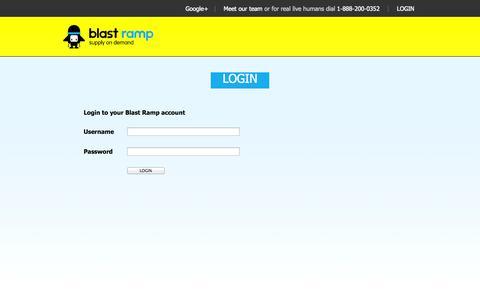 Screenshot of Login Page blastramp.com - blast ramp ~ supply on demand - captured Sept. 13, 2014