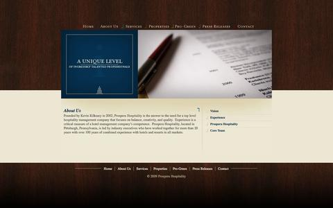 Screenshot of About Page prosperahospitality.com - About Us | Prospera Hospitality | Hotel & Resort Management | Asset Management | Property Managment - captured Sept. 30, 2014