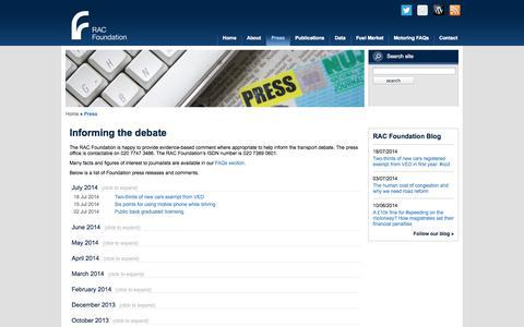 Screenshot of Press Page racfoundation.org - Media centre - captured Sept. 30, 2014