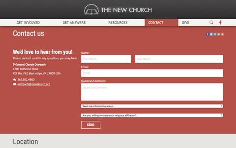 Screenshot of Contact Page newchurch.org - Contact us | New Church - captured Jan. 27, 2016