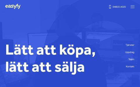 Screenshot of Home Page easyfy.se - Easyfy.se - Enklare e-handel, smartare shopping - captured Sept. 26, 2018