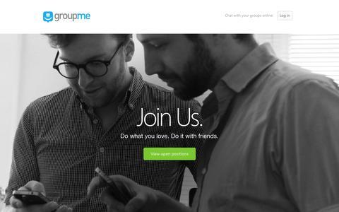 Screenshot of Jobs Page groupme.com - GroupMe       |       Jobs - captured Dec. 16, 2014