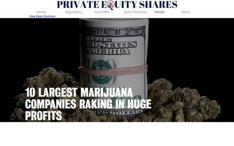 Screenshot of Press Page privateequityshares.com - Media - captured Nov. 4, 2018